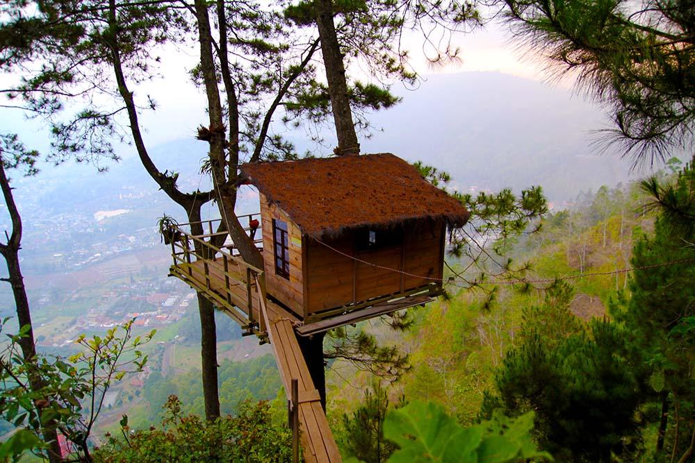 Ingin merasakan penginapan yang berbeda? Cobalah menginap di Omah Kayu di Gunung Banyak yang tak jauh dari area Paralayang
